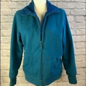 LL Bean Teal Blue Plush Lined Sweatshirt XS